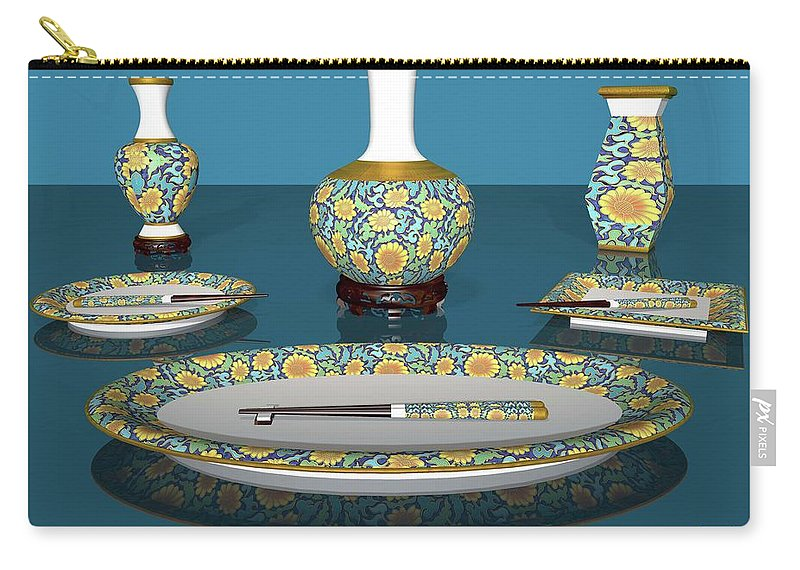 Asian Carry-all Pouch featuring the digital art Asian Dining And Vases by Alfred Price