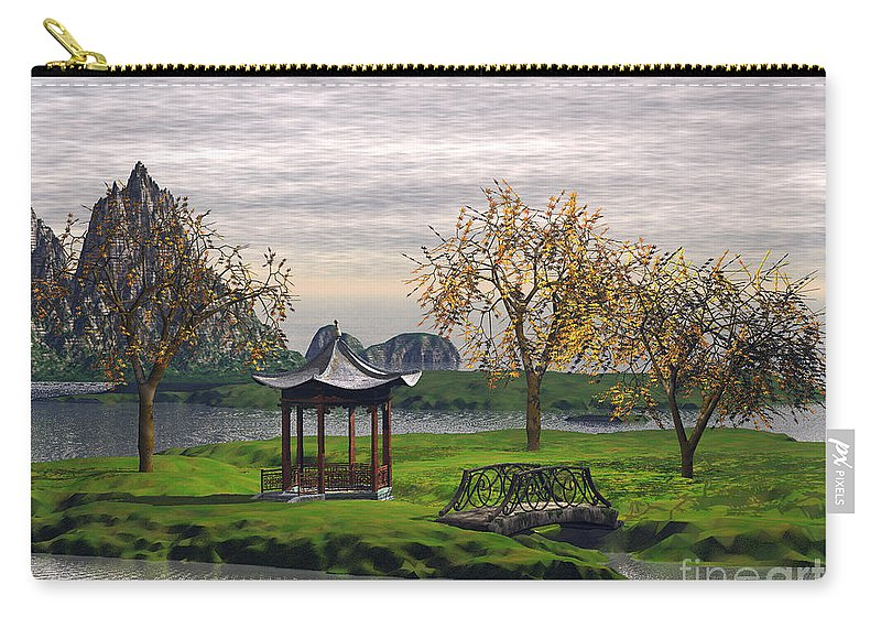 Landscape Carry-all Pouch featuring the digital art Asian Landscape by John Junek