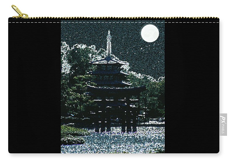 Full Moon Carry-all Pouch featuring the mixed media Asian Moon by Shirley Heyn