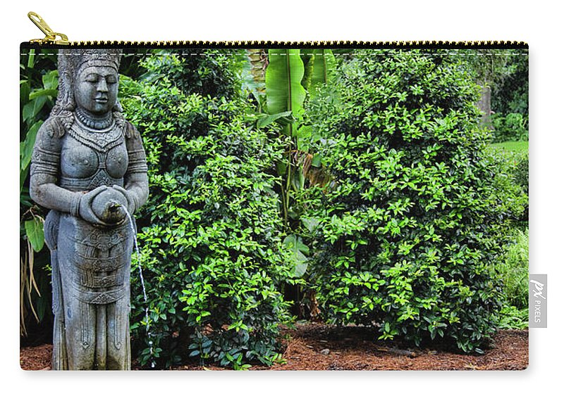 Landscape Carry-all Pouch featuring the photograph Asian Statue Jefferson Island by Chuck Kuhn