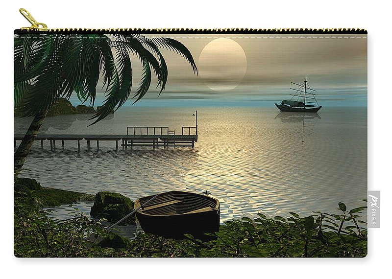 Landscape Carry-all Pouch featuring the digital art Asian Sunset Scene by John Junek