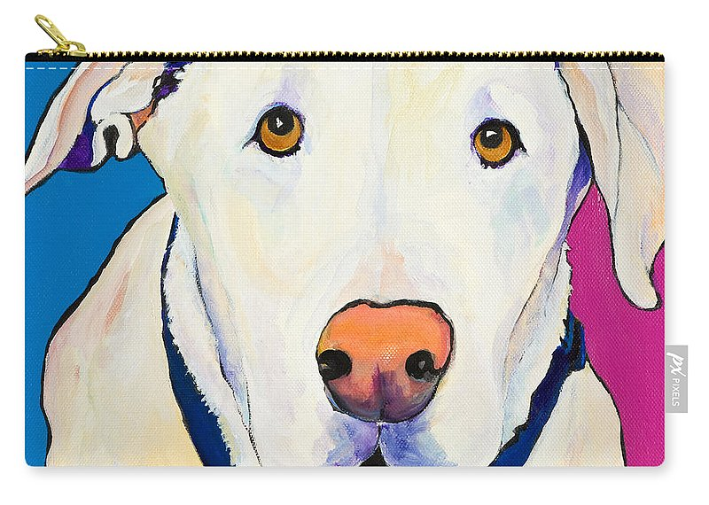 White Lab Yellow Lab Animal Paintings Golden Eyes Square Format Dogs Pets Rescued Carry-all Pouch featuring the painting Aslinn by Pat Saunders-White