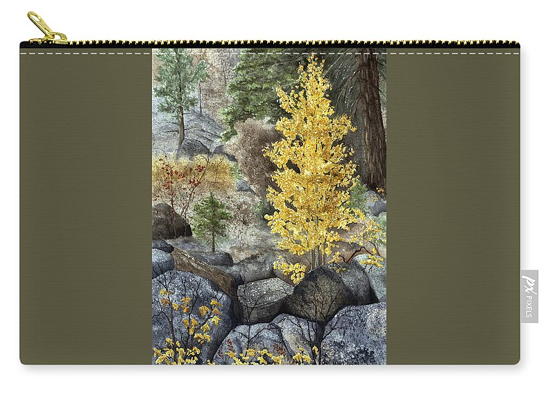 Autumn Carry-all Pouch featuring the painting Aspen Gold by Mary Tuomi