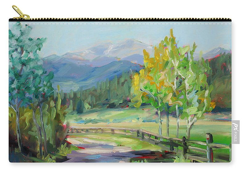 Rocky Mountains Carry-all Pouch featuring the painting Aspen Lane by Marie Massey