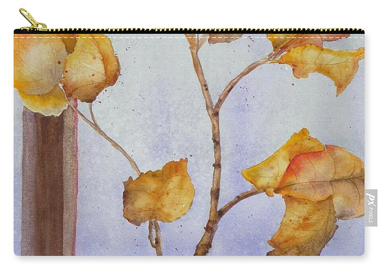 Leaves Carry-all Pouch featuring the painting Aspen by Ruth Kamenev