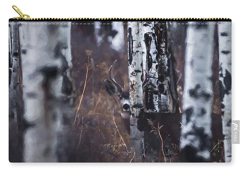 Deer Carry-all Pouch featuring the digital art Aspen View 2 by Ernie Echols