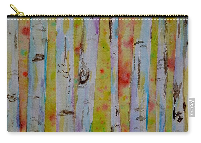 Aspens Abstract Series Carry-all Pouch featuring the painting Aspens Abstract II by Beverley Harper Tinsley