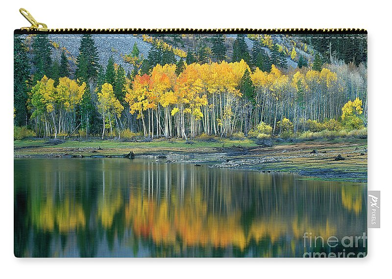 Dave Welling Carry-all Pouch featuring the photograph Aspens In Fall Color Along Lundy Lake Eastern Sierras California by Dave Welling