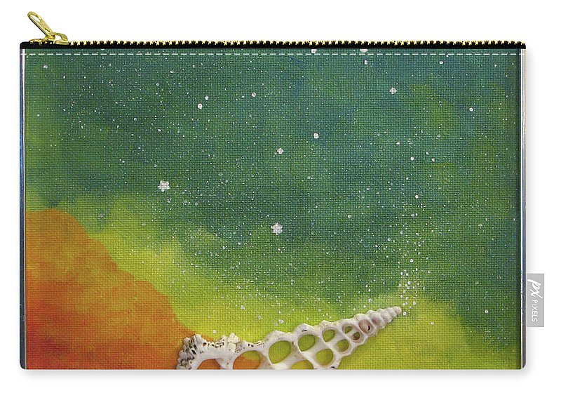 Shell Sea Ocean Stars Beach Blue Yellow Orange Carry-all Pouch featuring the painting Assisted Nucleation by Beth Waltz