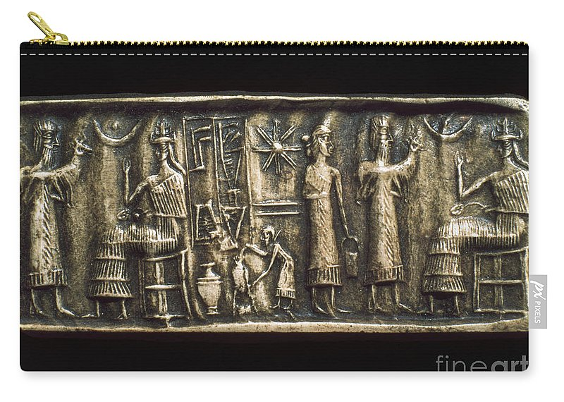 2000 B.c. Carry-all Pouch featuring the photograph Assyrian Cylindrical Seal by Granger