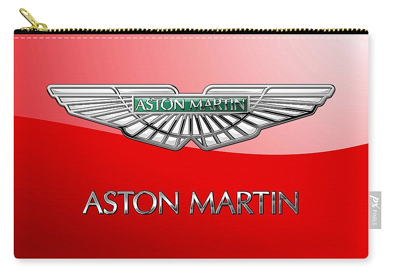 Wheels Of Fortune� Collection By Serge Averbukh Carry-all Pouch featuring the photograph Aston Martin - 3 D Badge On Red by Serge Averbukh