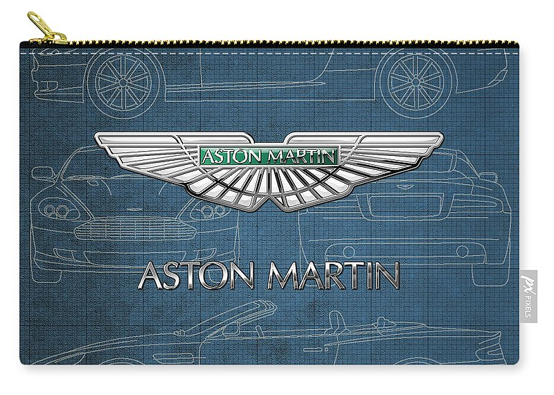 Wheels Of Fortune By Serge Averbukh Carry-all Pouch featuring the photograph Aston Martin 3 D Badge over Aston Martin D B 9 Blueprint by Serge Averbukh
