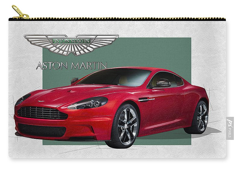 �aston Martin� By Serge Averbukh Carry-all Pouch featuring the photograph Aston Martin D B S V 12 with 3 D Badge by Serge Averbukh