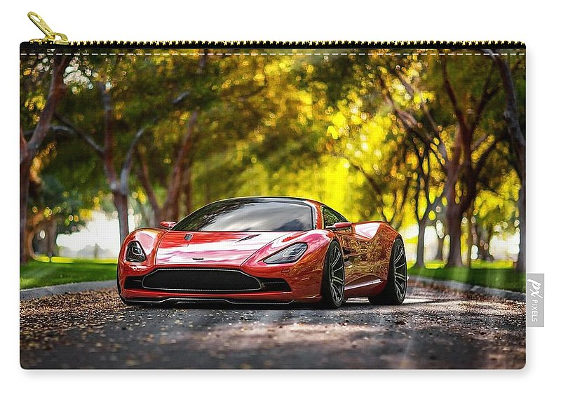 Aston Martin Dbc Carry-all Pouch featuring the photograph Aston Martin Dbc by Jackie Russo