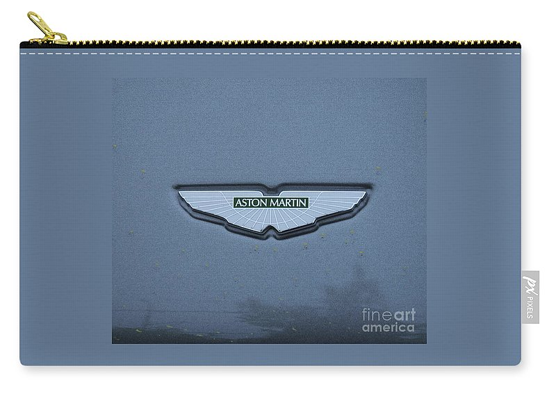 Automotive Art Aston Martin Logo Iconic British Sports Car Classic Automobile Legendary Name Product Grey Bond Car Greeting Card For A Car Buff Greeting Card For James Bond Fan Metal Frame Canvas Print Poster Print Available On Phone Cases Throw Pillows T Shirts Shower Curtains Pouches Tote Bags Duvet Covers Weekender Tote Bags Beach Towels Fleece Blankets And Mugs Carry-all Pouch featuring the photograph Aston Martin Logo # 1 by Marcus Dagan