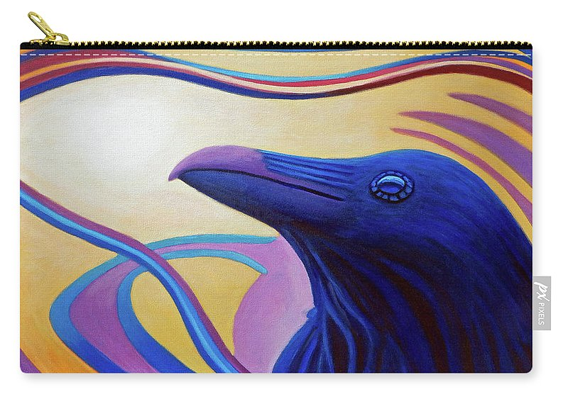 Raven Carry-all Pouch featuring the painting Astral Raven by Brian Commerford