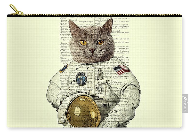 Astronaut Carry-all Pouch featuring the digital art Astronaut Cat Illustration by Madame Memento