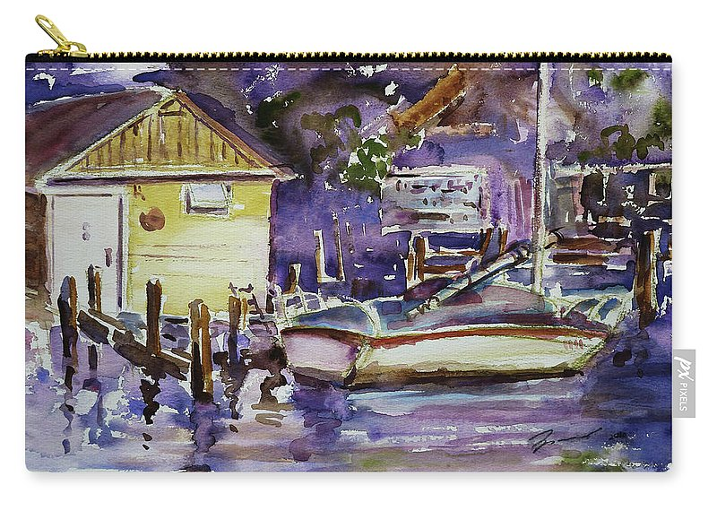 Boathouse Carry-all Pouch featuring the painting At Boat House 3 by Xueling Zou