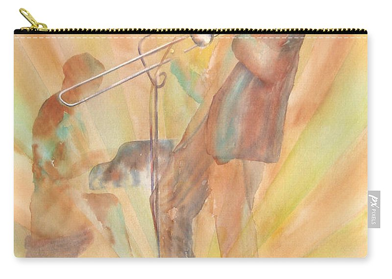Watercolor Carry-all Pouch featuring the painting At One With The Music by Debbie Lewis