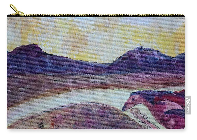 Sunset Carry-all Pouch featuring the painting At Sunset, We Ride by Dawn Richerson