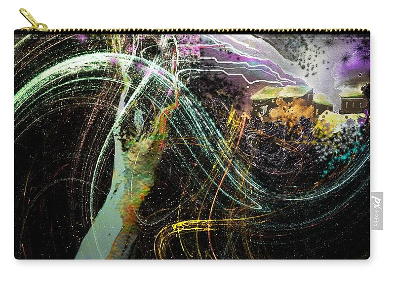 Fantasy Carry-all Pouch featuring the painting At The End Of The Cosmos by Miki De Goodaboom