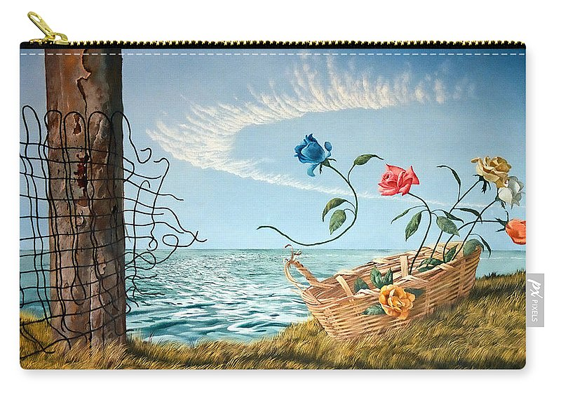 Flower Carry-all Pouch featuring the painting At The End Of The Fence I Am Free by Christopher Shellhammer