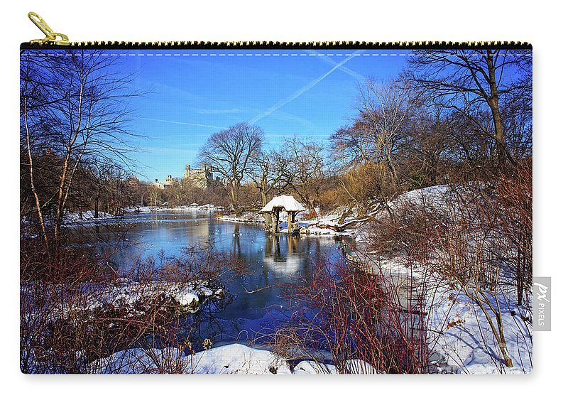 Nature Carry-all Pouch featuring the photograph At The Frozen Lake by Anna Serebryanik