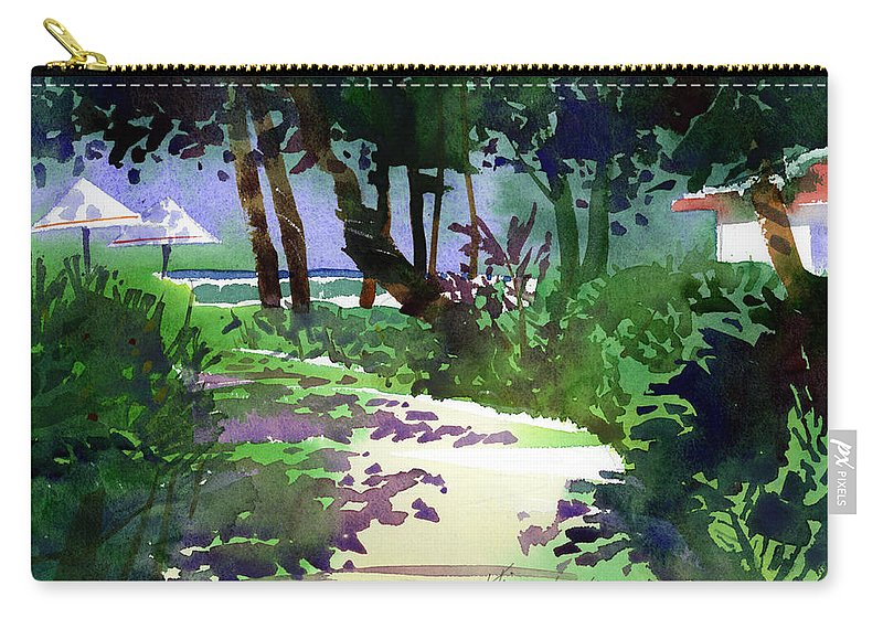 Beach Path Carry-all Pouch featuring the painting At The Hale Koa by Lee Klingenberg