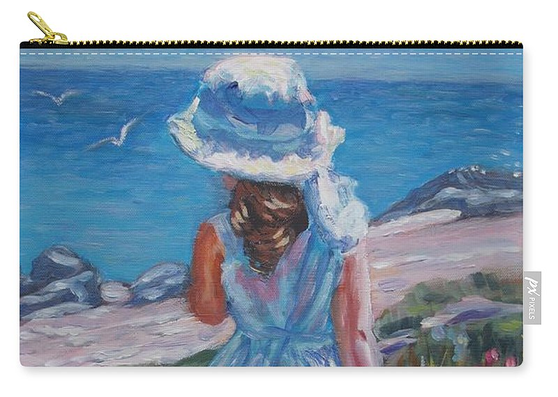 Landscape Carry-all Pouch featuring the painting At The Sea by Elena Sokolova