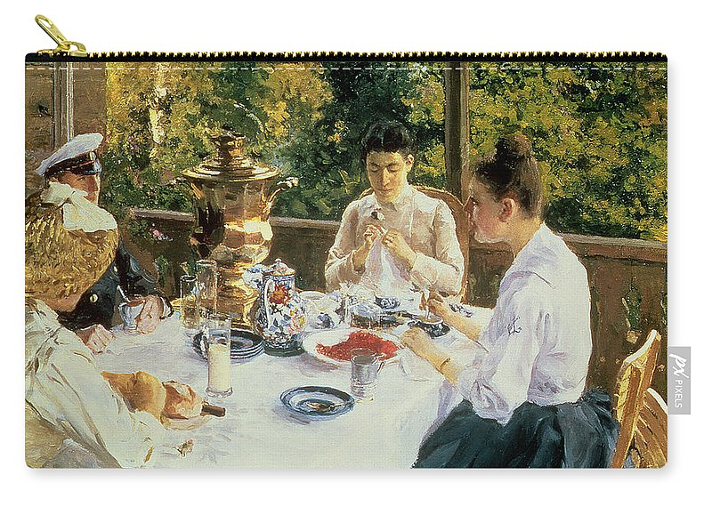 The Carry-all Pouch featuring the painting At The Tea-table by Konstantin Alekseevich Korovin