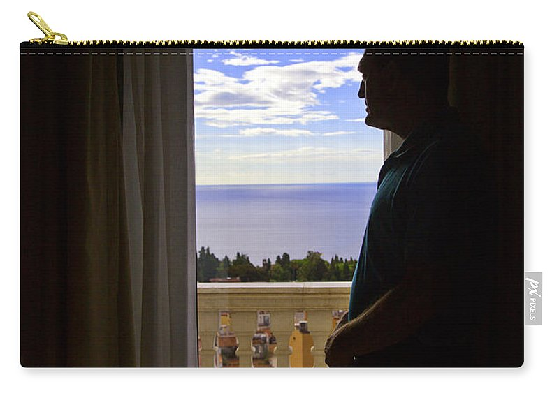 Window Carry-all Pouch featuring the photograph At The Window In Taormina by Madeline Ellis