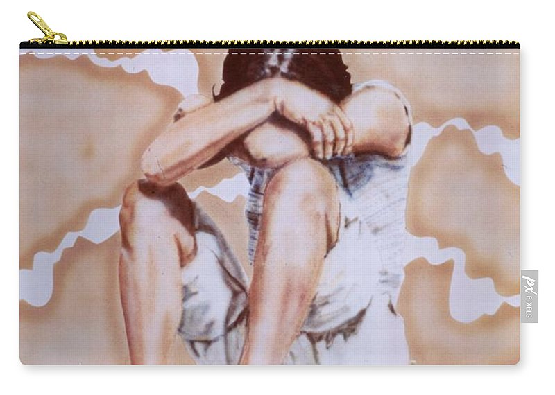 Portrait Carry-all Pouch featuring the painting Athabaskan Girl On A Rock by Ron Bissett