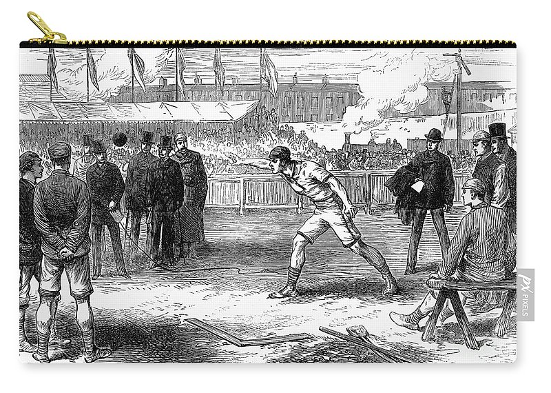 1875 Carry-all Pouch featuring the photograph Athletics: Shot Put, 1875 by Granger