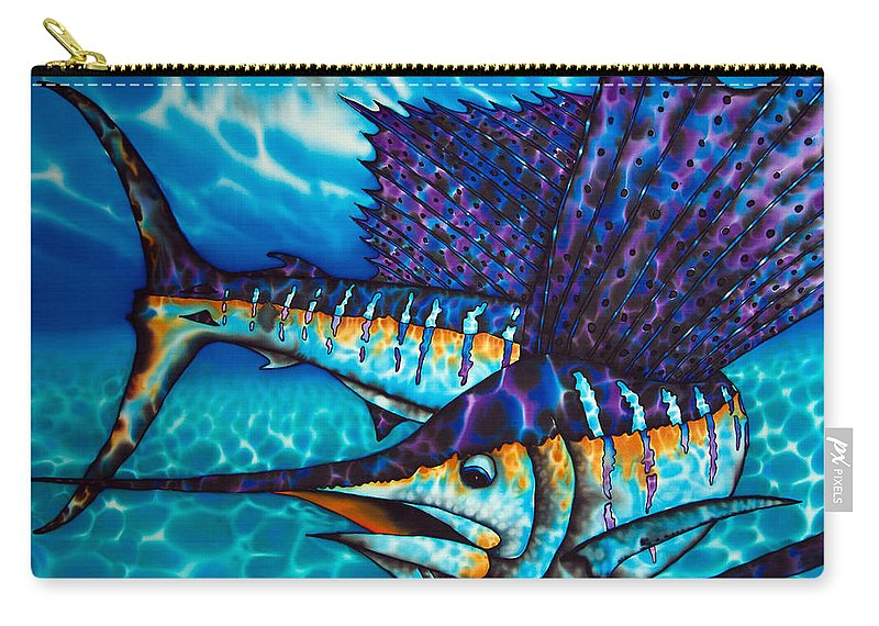 Sailfish Carry-all Pouch featuring the painting Atlantic Sailfish by Daniel Jean-Baptiste