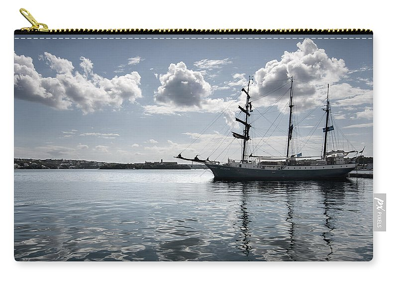 Europe Carry-all Pouch featuring the photograph Atlantis - A Three Masts Vessel In Port Mahon Crystaline Water by Pedro Cardona Llambias