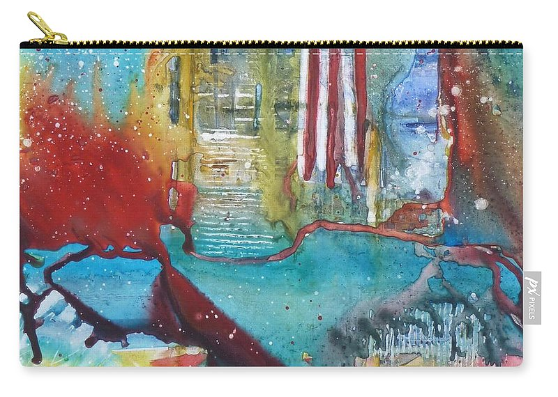 Abstract Carry-all Pouch featuring the painting Atlantis Crashing Into The Sea by Ruth Kamenev