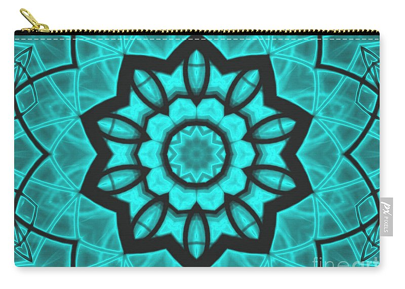 Kaleidoscope Carry-all Pouch featuring the mixed media Atlantis Stained Glass by Roxy Riou
