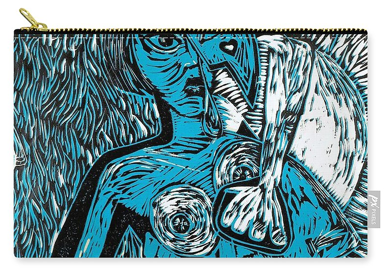 Clay Carry-all Pouch featuring the painting Attached by Thomas Valentine