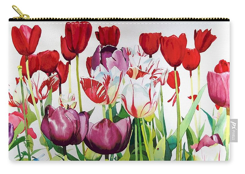 Tulips Carry-all Pouch featuring the painting Attention by Elizabeth Carr