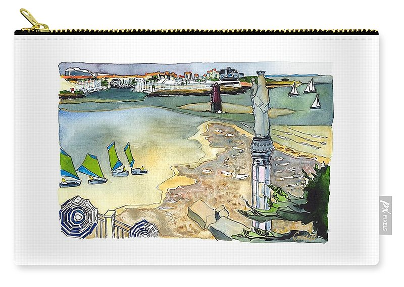 French Atlantic Carry-all Pouch featuring the painting Au Bord De La Mer, La Rochelle, Charente-maritimes by Joan Cordell