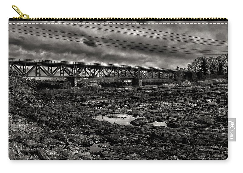 Train Carry-all Pouch featuring the photograph Auburn Lewiston Railway Bridge by Bob Orsillo