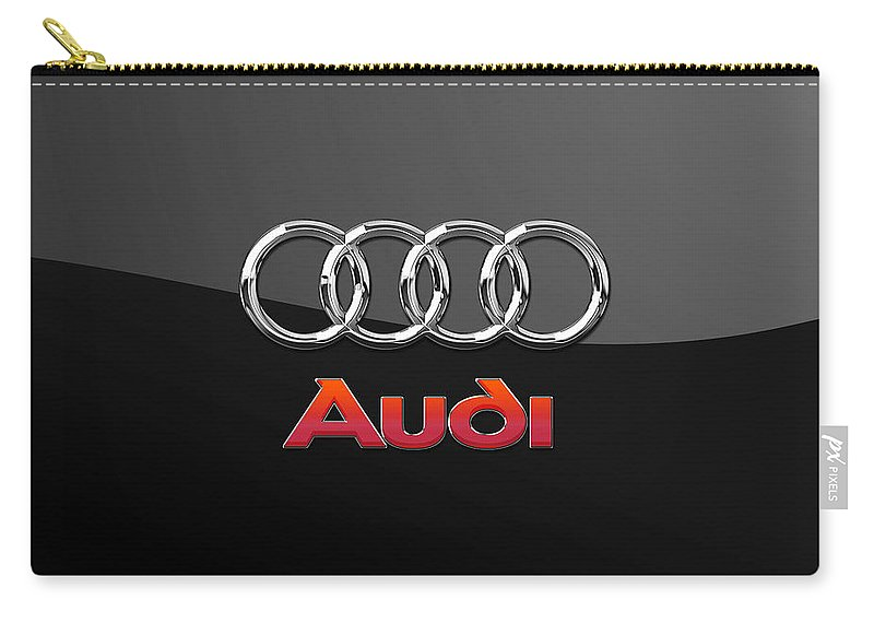'wheels Of Fortune' Collection By Serge Averbukh Carry-all Pouch featuring the photograph Audi 3 D Badge On Black by Serge Averbukh
