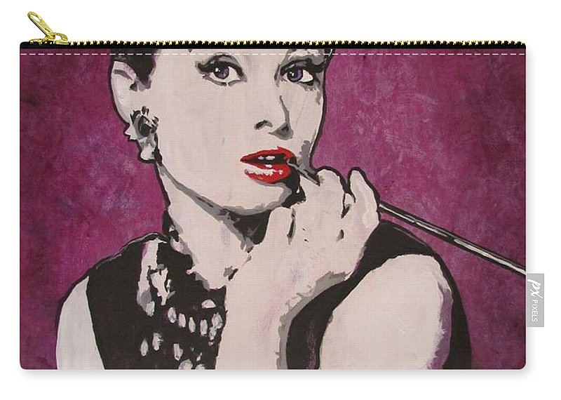 Audrey Hepburn May 4 1929 - Jan 20 1993 . Moon River. Breakfast At Tiffany's. Carry-all Pouch featuring the painting Audrey Hepburn - Breakfast by Eric Dee