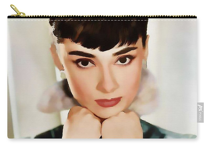 Celebrity Carry-all Pouch featuring the digital art Audrey Hepburn by Marlene Watson