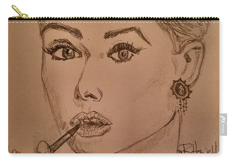 Audrey Hepburn Carry-all Pouch featuring the drawing Audrey Hepburn by Richard Howell