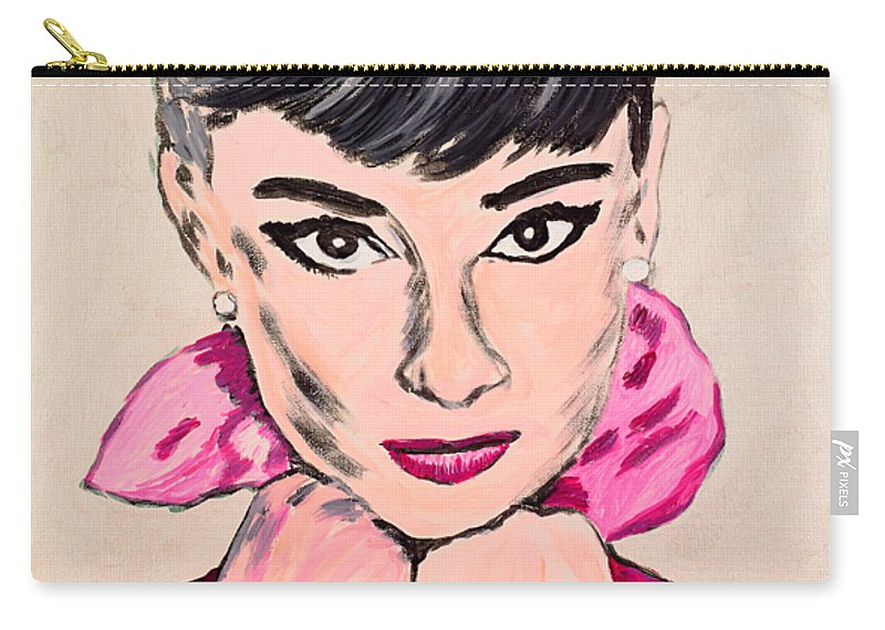 Portrait Carry-all Pouch featuring the painting Audrey Hepburn by Valerie Ornstein