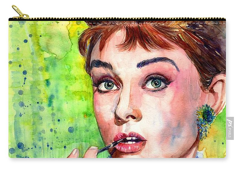 Audrey Hepburn Carry-all Pouch featuring the painting Audrey Hepburn Watercolor by Suzann Sines