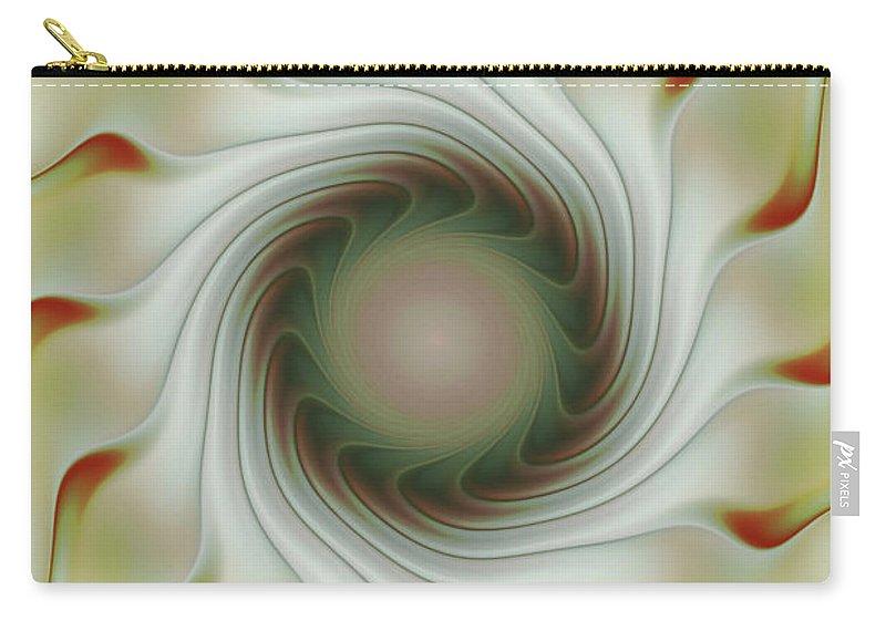 Fractal Art Carry-all Pouch featuring the digital art Auger Wheel Spin by Deborah Benoit