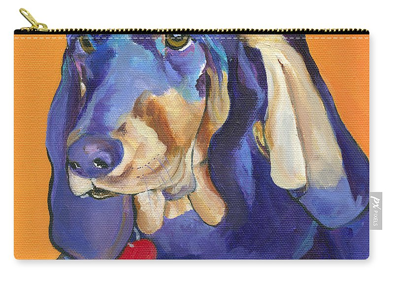 Bloodhound Carry-all Pouch featuring the painting Augie by Pat Saunders-White