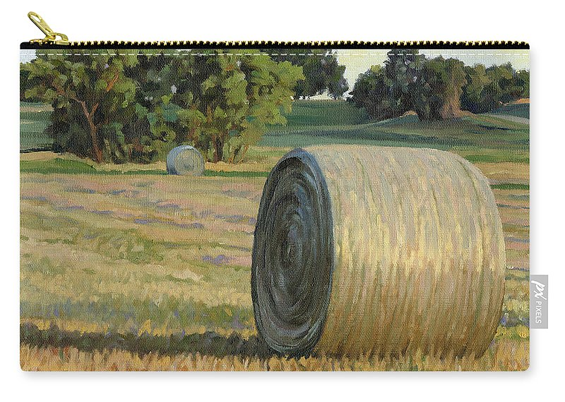 Landscape Carry-all Pouch featuring the painting August Bales by Bruce Morrison